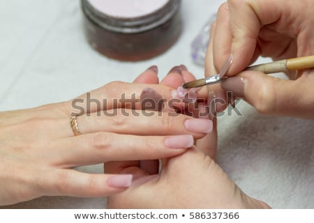 acryl · nagels · manicure · vingers · Rood · frans - stockfoto © rosipro