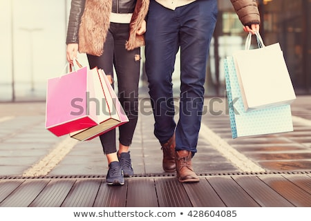 Couple homme fond Shopping peinture Photo stock © zzve
