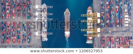 haven · nacht · groot · container · vracht · schip - stockfoto © maisicon