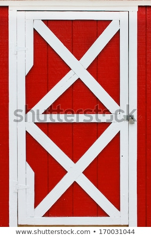 fence field and large red barn stock photo © oliverjw