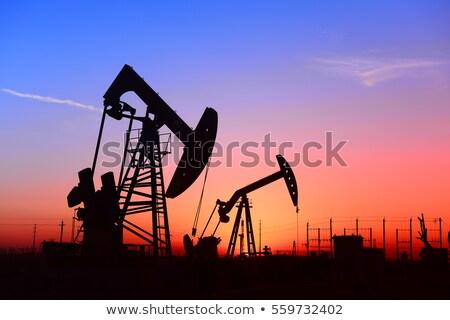 working oil pump at sunset stock photo © mikko