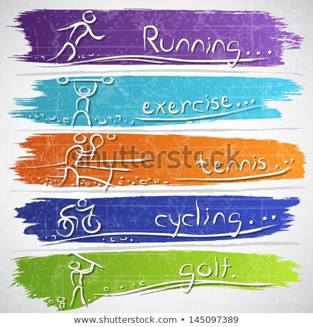 Stock photo: athletic running pictogram on aqua blue background