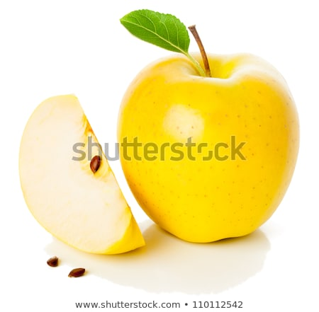 Stock photo: Horizontal slice of a fresh yellow apple