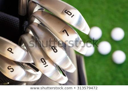 Kilenc vasaló golfütők zöld különböző egyéb Stock fotó © sarahdoow