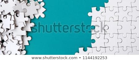 Foto stock: Piezas · del · rompecabezas · blanco · cuatro · color · vacío