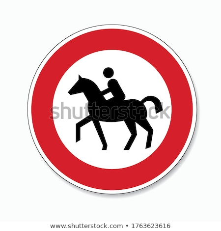 Traffic sign prohibition for horses and horse riding Stock photo © Ustofre9