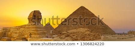 ストックフォト: The Great Sphinx Of Giza With The Great Pyramid Egypt