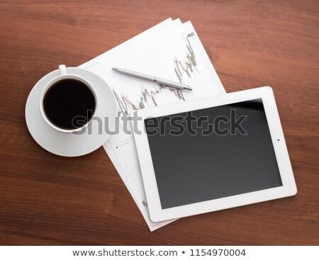 Kağıtları kalem tablo kırmızı iş ofis Stok fotoğraf © Lekchangply