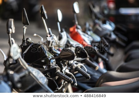 Stock photo: scooter mototbikes row many in rent store