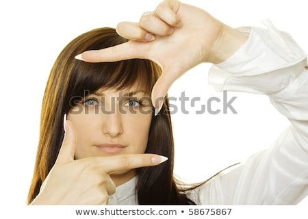 futuristic woman face looking through fingers Stock photo © dolgachov