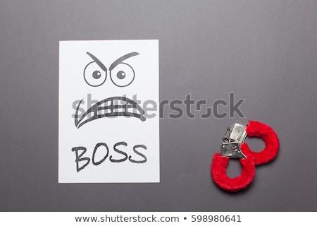 Seksuele intimidatie vrouw bureau hand schouder niet Stockfoto © jayfish