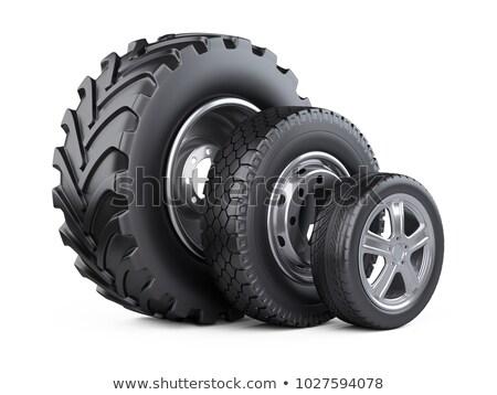 establecer · coche · ruedas · aislado · blanco · 3d - foto stock © podsolnukh