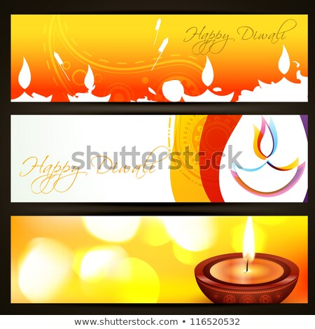 beautiful set of three diwali headers colorful vector stock photo © bharat