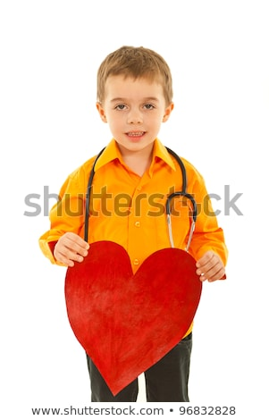 doctor with big red heart and stethoscope stock photo © kirill_m