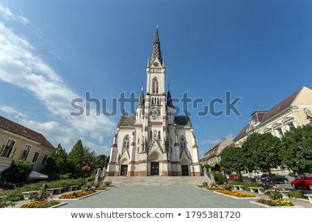 Bejárat katolikus templom város utca ajtó Stock fotó © g215