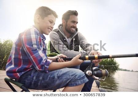 Vader zoon vissen samen familie portret vader Stockfoto © photography33