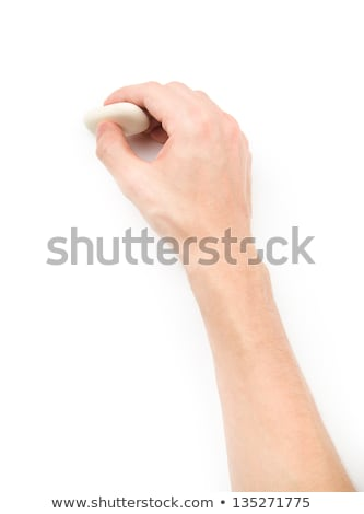 Stock photo: human hands with erase rubber