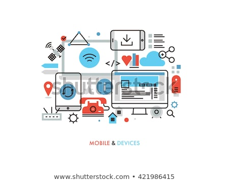 Stock photo: electronic devices mail transfer concept