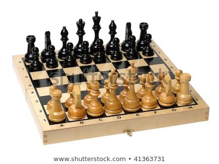 tabuleiro · de · xadrez · conjunto · para · cima · jogo · isolado · branco - foto stock © vlad_star