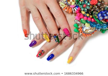 Acryl nagels manicure handen Rood frans Stockfoto © zastavkin