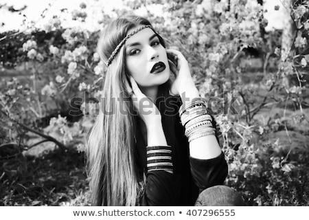 makeup fashion face art portrait black and white photo female stock photo © victoria_andreas