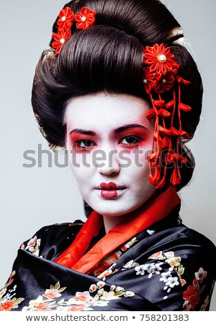 Primer plano retrato hermosa geisha primavera moda Foto stock © Nejron