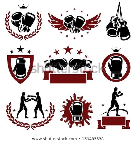 Boxe icône emblème rouge deux Photo stock © Porteador