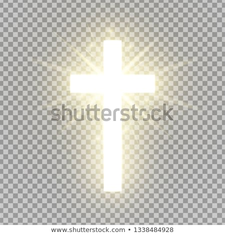 Kruis licht afbeelding bos bomen berg Stockfoto © ankarb