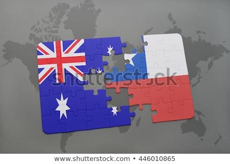 Chile · Ausztrália · zászlók · puzzle · izolált · fehér - stock fotó © istanbul2009