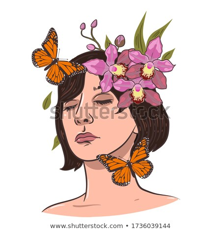 beautiful young brunette woman with orchid flower in her hair and butterflies stock photo © nejron