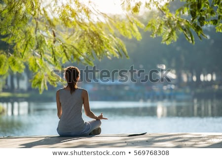 Relaxation, Woman practices yoga at the waterfall  stock photo © Geribody