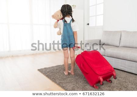 Fiatal nő áll plüssmaci portré gyönyörű fotózás Stock fotó © bmonteny