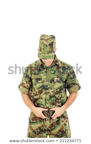 Katona harcos katonaság álca egyenruha öv Stock fotó © feelphotoart