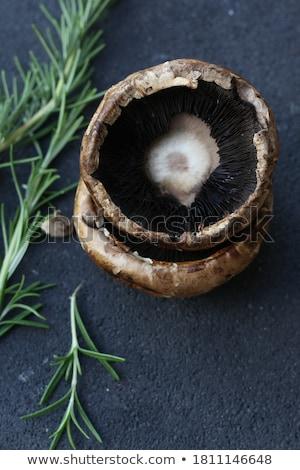 Friss ehető gomba champignon fehér tükröződés Stock fotó © stevanovicigor