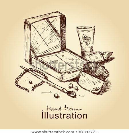Sketch powder compact in vintage style stock photo © kali