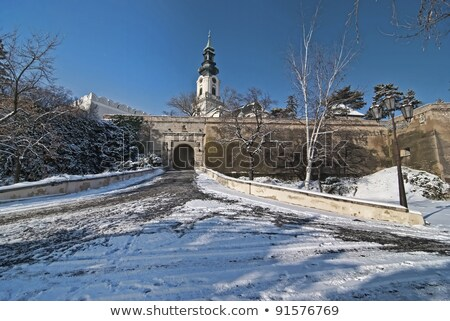 Walls and Well of Nitra Castle Stock photo © Kayco