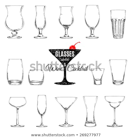 Kroki gözlük su alkol vektör bira Stok fotoğraf © muuraa