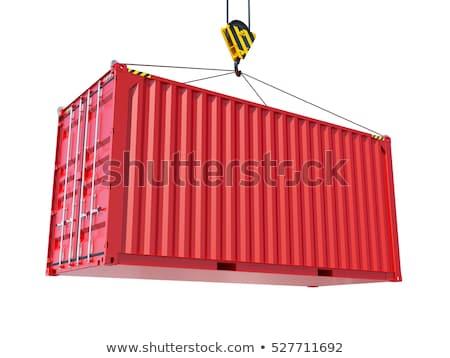 ストックフォト: 速達便 · 赤 · 絞首刑 · 貨物 · コンテナ · フック
