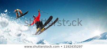 Esquiador esqui alto montanhas neve Foto stock © smuki