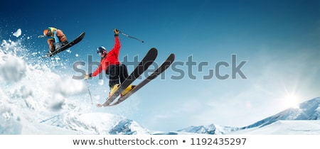 Skier skiing Stock photo © smuki