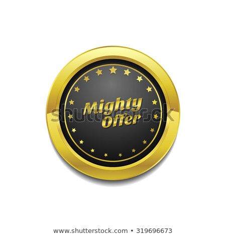Mighty Offer Golden Vector Icon Button Stock photo © rizwanali3d