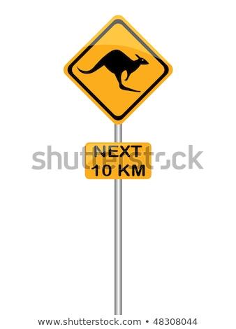 kenguru · figyelmeztető · jel · vidék · fa · fű · út - stock fotó © adrenalina