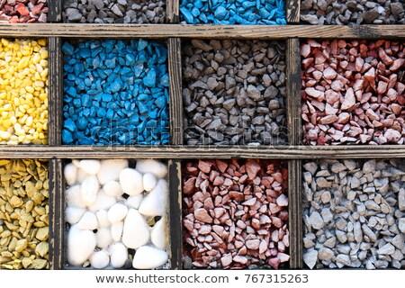 Conjunto coleção rochas minerais caixa abstrato Foto stock © pixelman