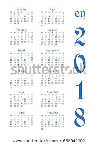 2018 Calendar template. Vertical weeks. First day Monday Stock photo © orensila