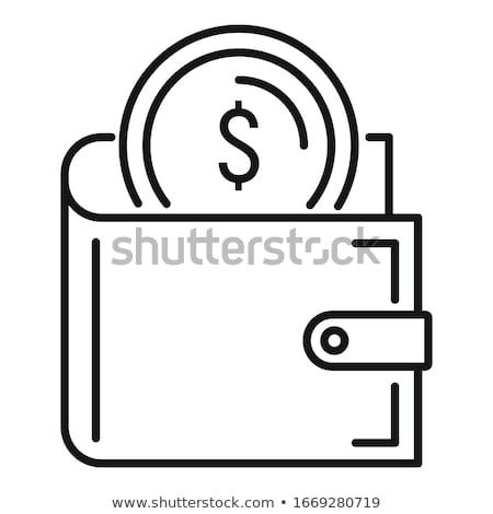 Stock fotó: Fekete · klasszikus · pénztárca · érmék · izolált · fehér