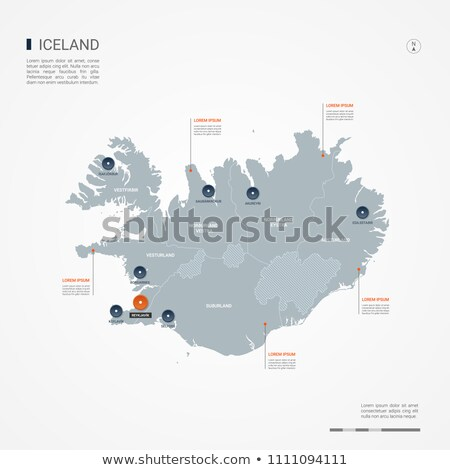 orange button with the image maps of Iceland Stock photo © mayboro