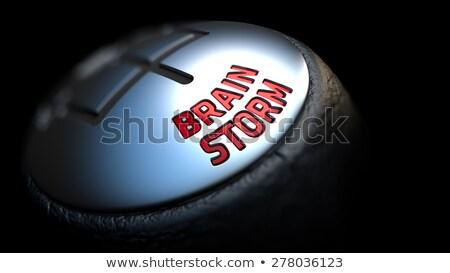 Beyin fırtına dişli vardiya sopa kırmızı Stok fotoğraf © tashatuvango