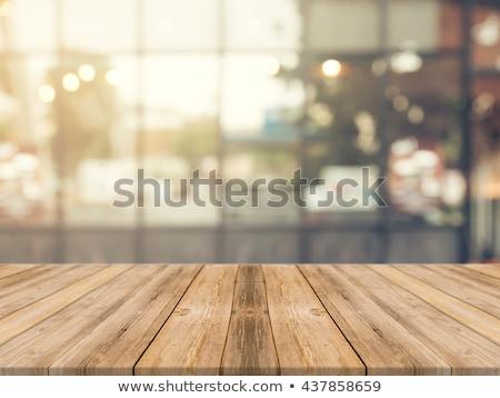 üres · fa · asztal · elmosódott · kávézó · űr · asztal - stock fotó © happydancing