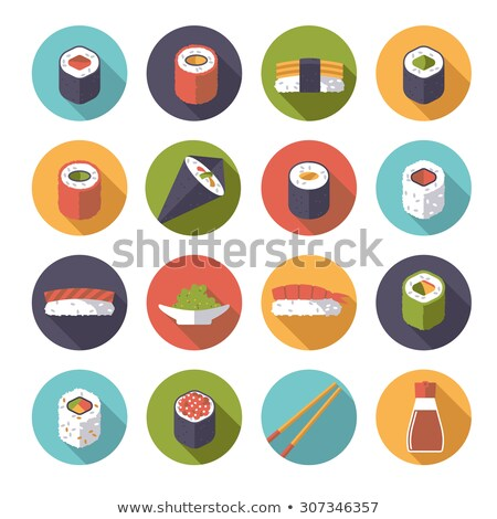 flat sushi circle icons set stock photo © anna_leni