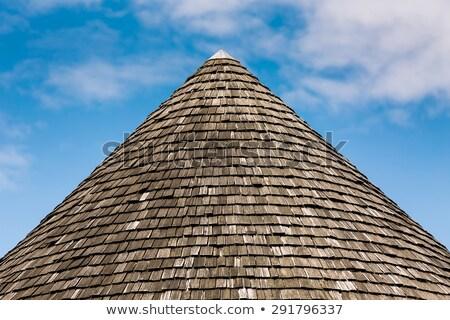 Stok fotoğraf: Eski · çatı · üst · ahşap · fayans · mavi · gökyüzü